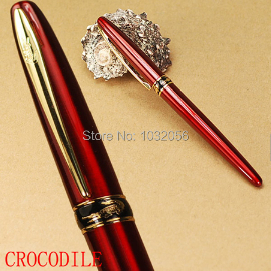 CROCODILE 215 red M nib classic fountain pen with unique cayman mouth stationery school supplies brand writing gift pen(China (Mainland))