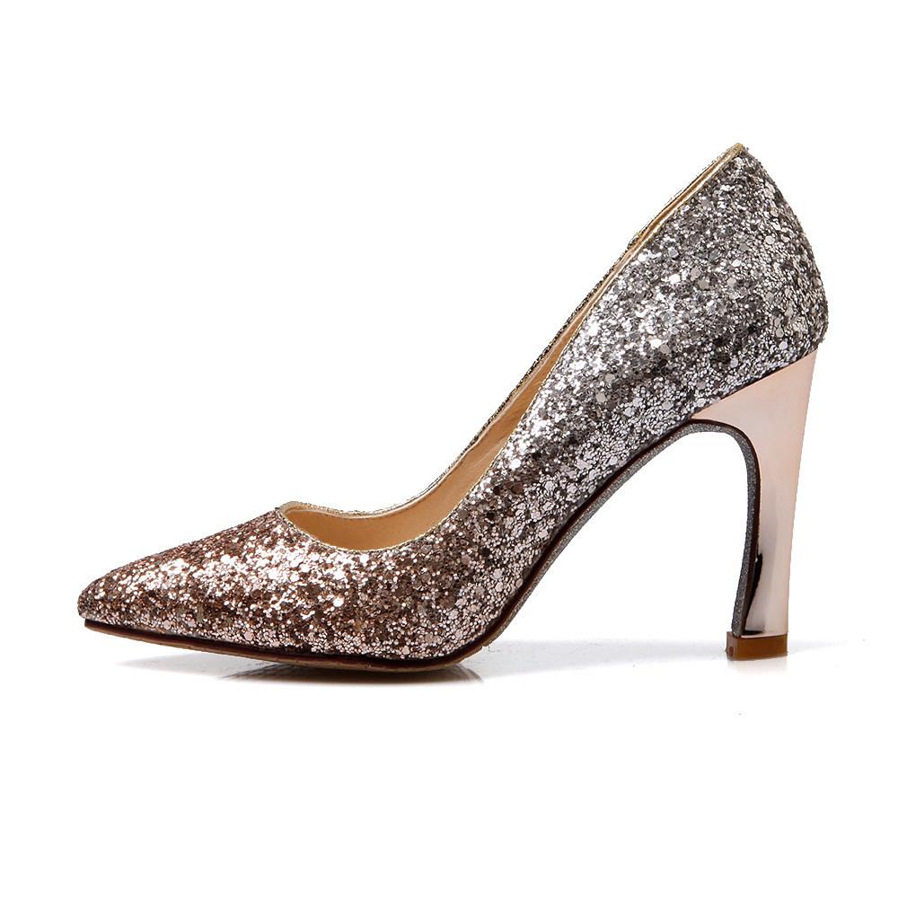 Silver Medium Heel Dress Shoes