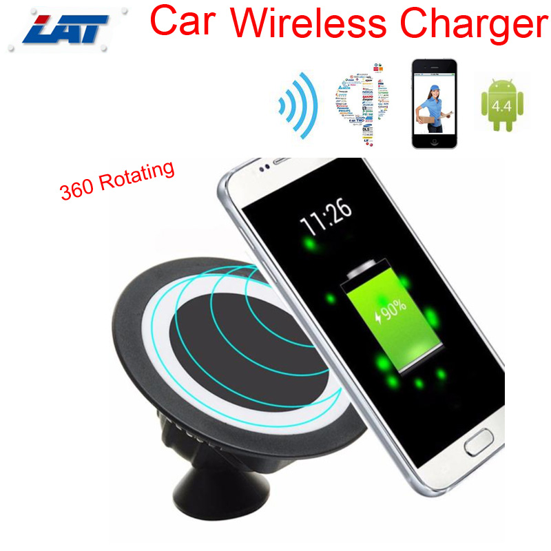 Qi Wireless Charger Dock Magnetic 360 Rotating Mount Car Holder Charging Pad +Wireless Charger Receiver for Samsung S6 S7 Edge(China (Mainland))