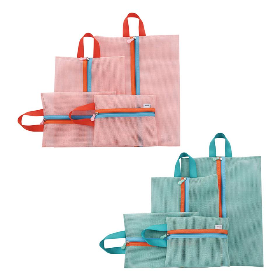 BEST 4PCS Set Mesh Nylon Folding Wardrobe Travel Luggage Packing Storage Bags Organizer for Bathroom Pink Green Free Shipping(China (Mainland))