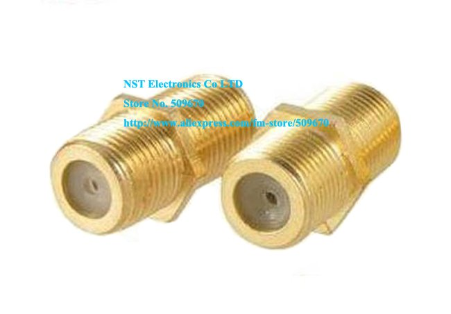 Free Shipping /10pcs/High Quality F Female to Female Coaxial RG6 Barrel Coax Cable Connector Coupler RG6 F81 3GHz Adapter GOLD(China (Mainland))