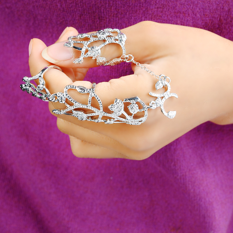 Forefinger Thumb Rings Women Alloy Chain Two Finger Rings Link Double Ring Tree Flower for Women Gifts ER398(China (Mainland))