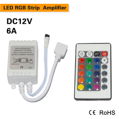 New Mini 24key LED Controller RGB Colorful With IR Remote Control Mini Dimmer for SMD5050 / 3528/3014 rgb Led Strip Lights DC12V(China (Mainland))