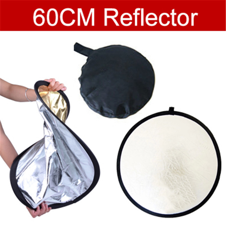 60cm Photography Studio Reflector  gold and silver double-sided soft board camera photography reflectors