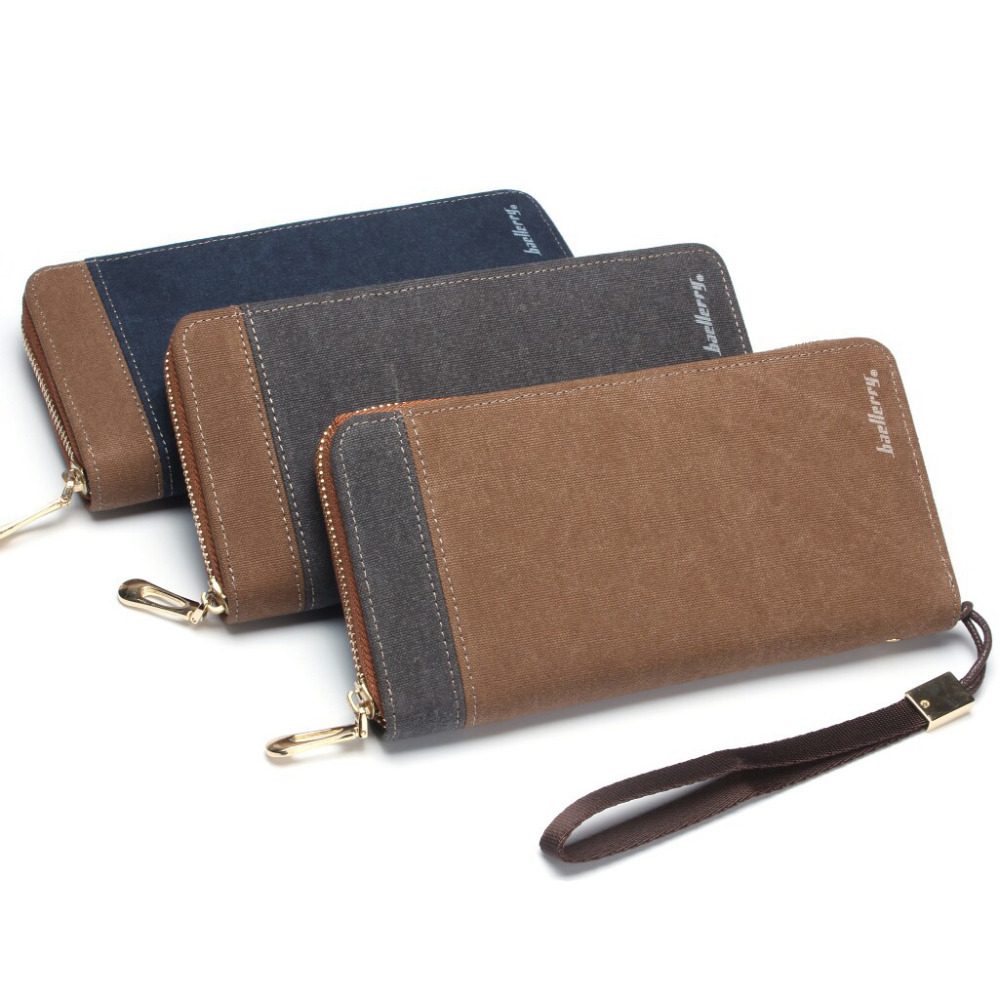 Mens Canvas Zipper Wallet Men Clutch Hand Bag Fashion Clutch Purse