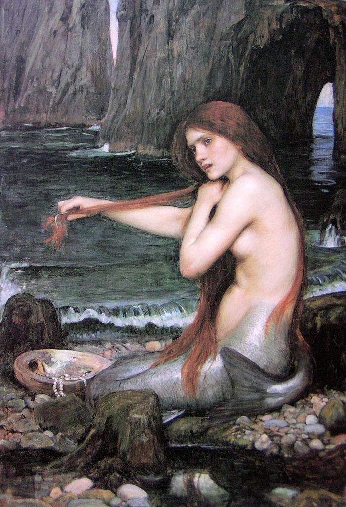 "Art Oil painting J. W. Waterhouse - nice young girl A Mermaid In the toilet 36""(China (Mainland))"