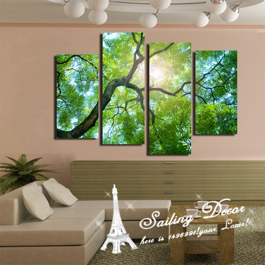 Home Decorative 4PCS/a set New Fashion Tree Decor Sunshine Through The Leaves Wall Pictures Art Painting Printed On Canvas(China (Mainland))