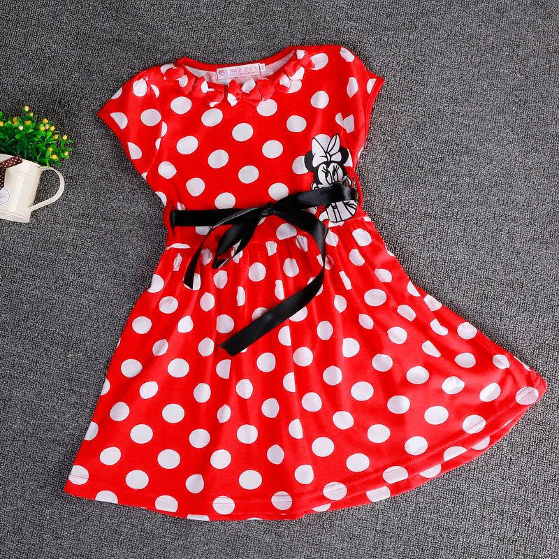 2015 New Summer Girls Dress Tutu Princess Baby Mickey Minnie Mouse Dress Dot Baby Casual Paty Dress for 2-6 Years Kid Dress(China (Mainland))