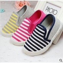 New 2015 Insole 14.5-17.5cm Children Shoes kids sneakers baby boys girls canvas shoes with stripes(China (Mainland))