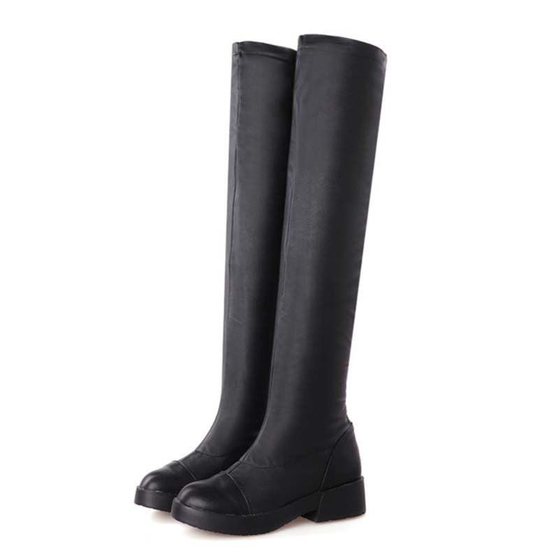 ENMAYER Black Brown White Square heel Med Over-the-Knee Boots shoes new hot! Round Toe Winter Warm sexy Long boots shoes Girls<br><br>Aliexpress