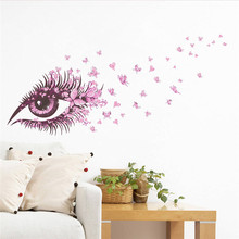 Buy 135*65cm 3D Fairy Girl Eye Wall Sticker butterfly flowers bedroom kids room liviong room home decor vinyl pvc wall decal & for $2.19 in AliExpress store