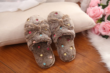 2016 Fashion Woman Kawaii Shoes Fluffy Home Slippers Bowtie Indoor Plush Slippers Cute Female House Shoes Zapatillas Pantufas(China (Mainland))