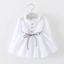 new 2016 spring autumn Ruffles baby dress casual solid newborn girls dresses roupas infantis menina for 2~7age baby girl clothes(China (Mainland))