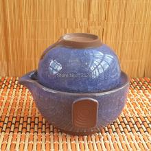 set of 1 ice crack teapot with filter hole 1 ceramic tea cup 2pcs set travel
