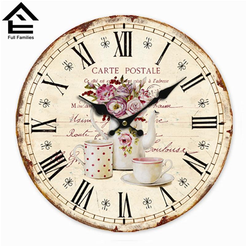 New 2015 Circular Creative 3D Vintage Old Design DIY Wall Clock Antique Retro Wooden Wall Clock Luxury kitchen Wall Clock gz279(China (Mainland))