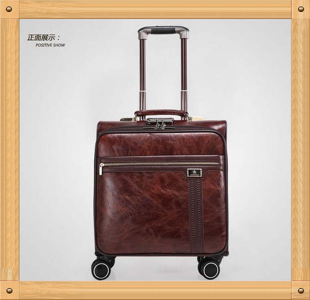 """Free Shipping!! High quality PUTravel Luggage 16"""" 20"""" 24"""" Trolley Suitcases Vintage Style Rolling Luggage with Wheels(China (Mainland))"""