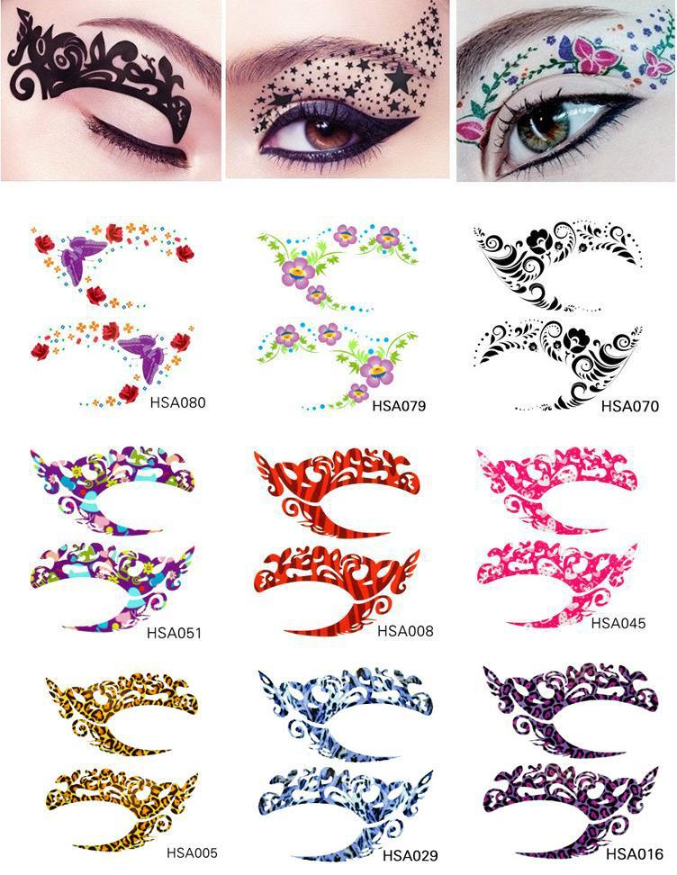 80 designs stage makeup lace eye tattoo stickers temporary for Eye temporary tattoo makeup