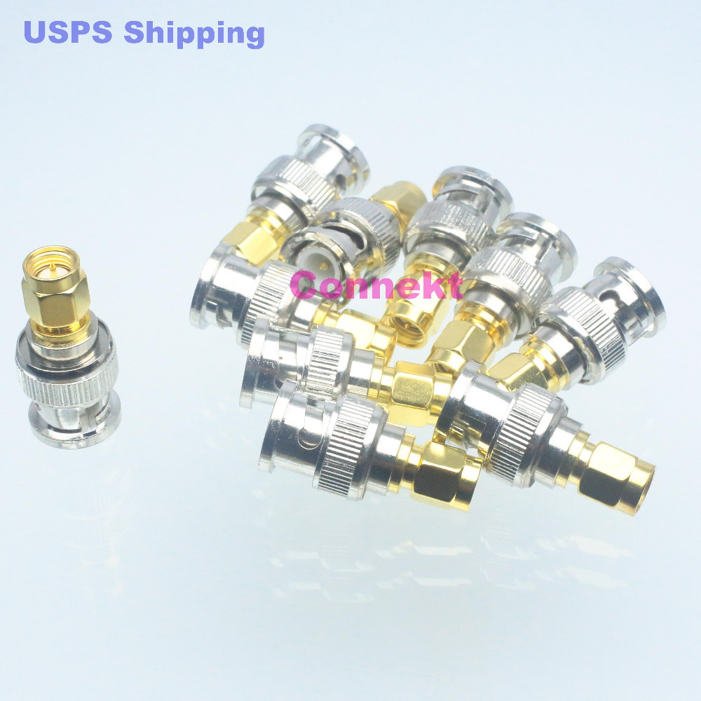 10pcs Conversion Adapter BNC male M to SMA male M RF coaxial connector for radio(China (Mainland))