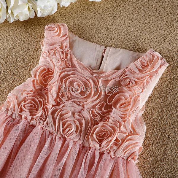 [Eleven Story] Girls summer rose flowers tutu princess dress baby kids clothes ES505DS-31PO(China (Mainland))