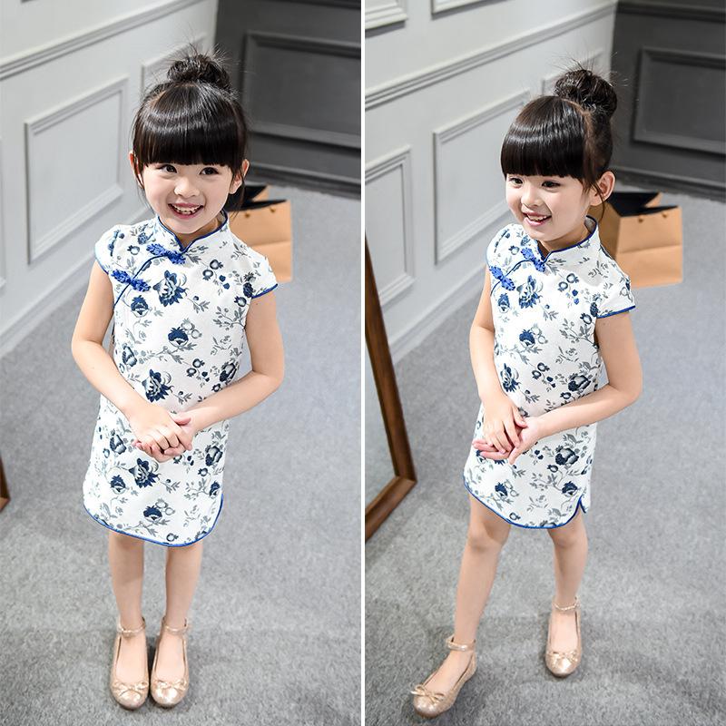 Cotton Girl Dress Trendy Kids Baby Girls Qipao Short Sleeve Chinese Cheongsam Spring Autumn Girls Clothes Hot 2016 New(China (Mainland))