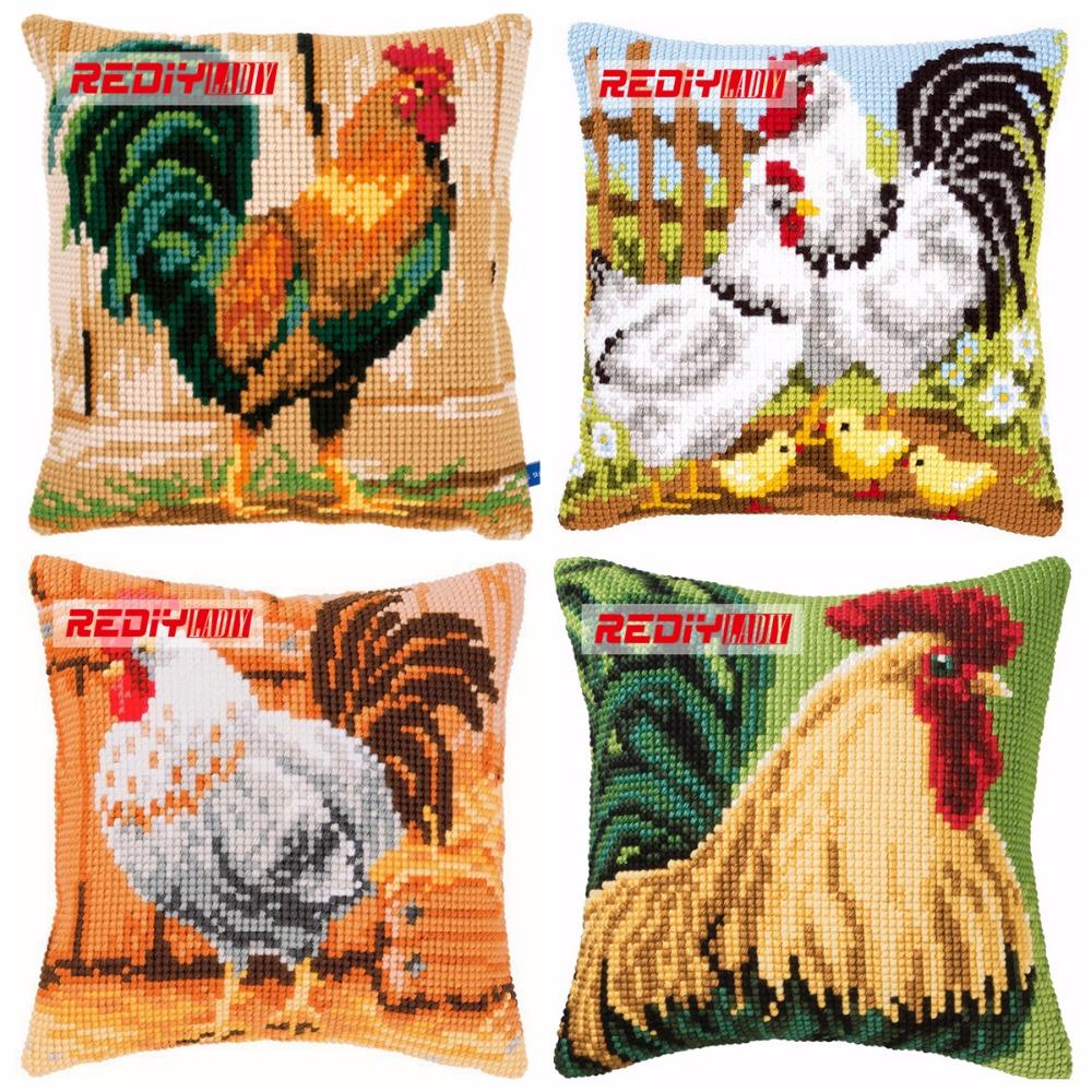 REDIY Cross Stitch Cushion Cover COCKEREL Decorative Pillow Case Cushions for Sofa Chunky Yarn Cross-Stitch Kits Throw Pillows