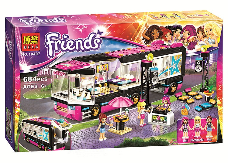 Bela10407 684 pcs Friend series Pop Star Tour Bus Building Kits model building blocks girls assembly toys Compatible with Legos(China (Mainland))