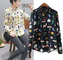 2016 Vintage Women Blouse New Woman Chiffon Cartoon Floral Long Sleeves Casual Loose Blouses Female Shirts Tops Women Clothing