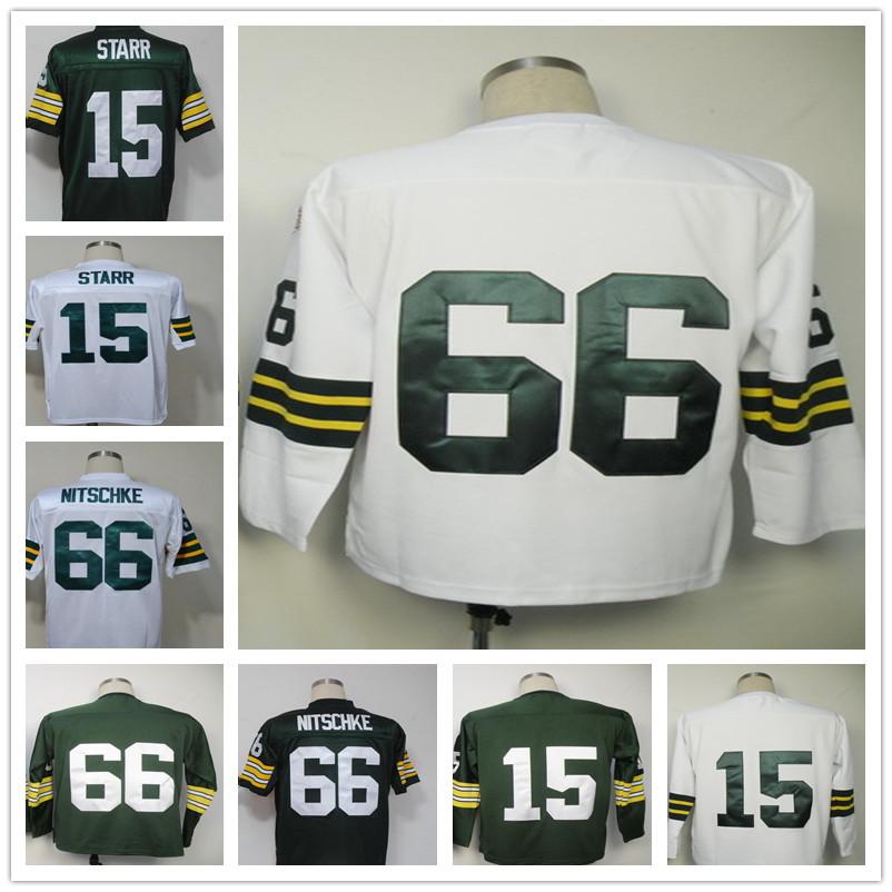 Free Shipping Men's T-shirts Ray Throwback NITSCHKE Bart Jersey Starr Green white size 48-56 long sleeves(China (Mainland))