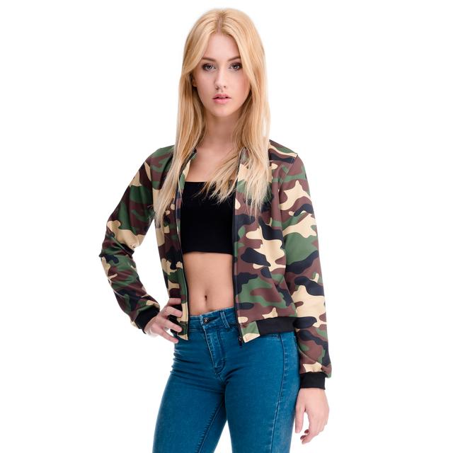 Mix 2016 3D цифровой Полныйprint весна осень камуфляж короткие женщин куртки бомбардировщика ...