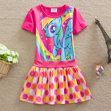 Baby Girls Clothing New 2016 Summer Kids Dress Fashion Cartoon My Pony Children Clothes Short Sleeve Dresses For Girls Dress(China (Mainland))
