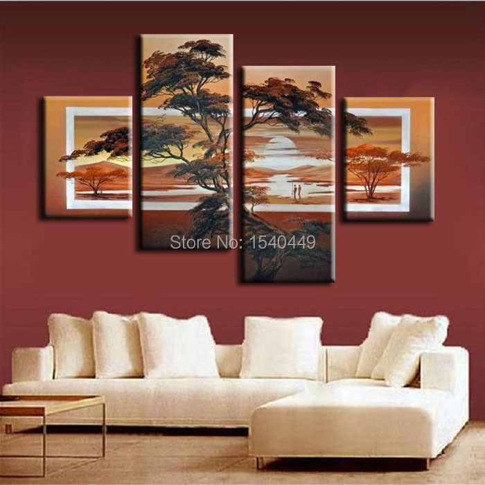 Hand Painted Oil Painting Landscape <font><b>Asian</b></font> Pine Sunset And lovers 4 Piece Canvas Art Abstract Wall <font><b>Decor</b></font> Picture For <font><b>Home</b></font> 234
