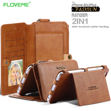 Floveme Retro Folded Wallet Case for iPhone 6 /6S for iPhone 6 Plus /6S Plus 2 in 1 Leather Cover Original Brand Stand MetalRing(China (Mainland))