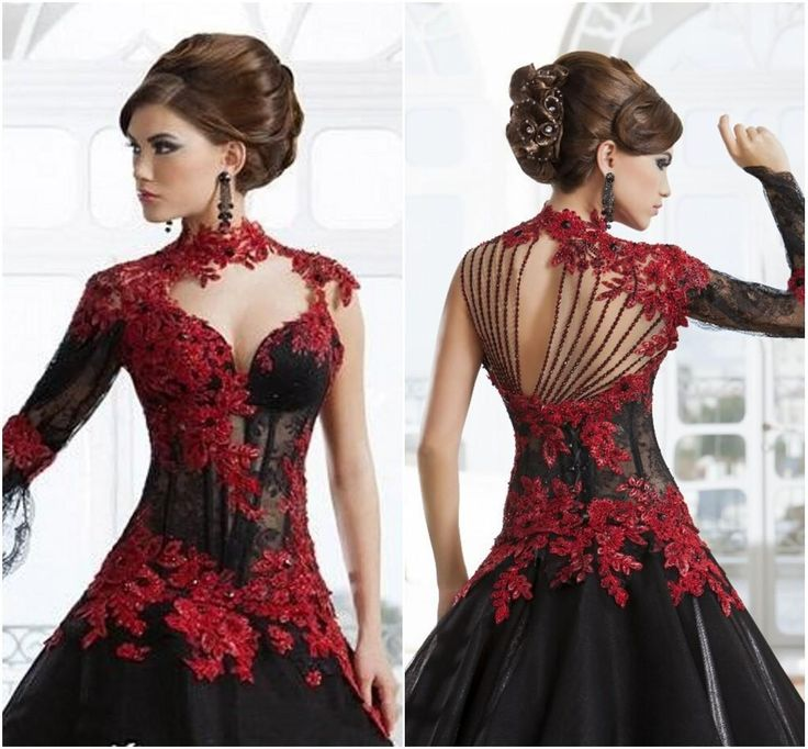 Long Black And Red Dresses
