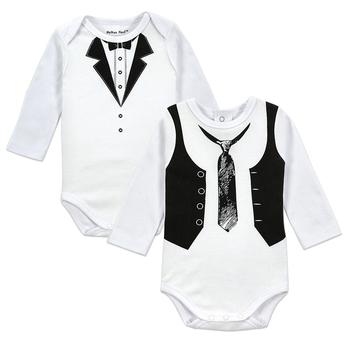 2pcs/lot Baby Gentleman Body Suit Original Boys Long Sleeves Bodysuite Popular Style European Style Newborn Bebe Cotton Clothes