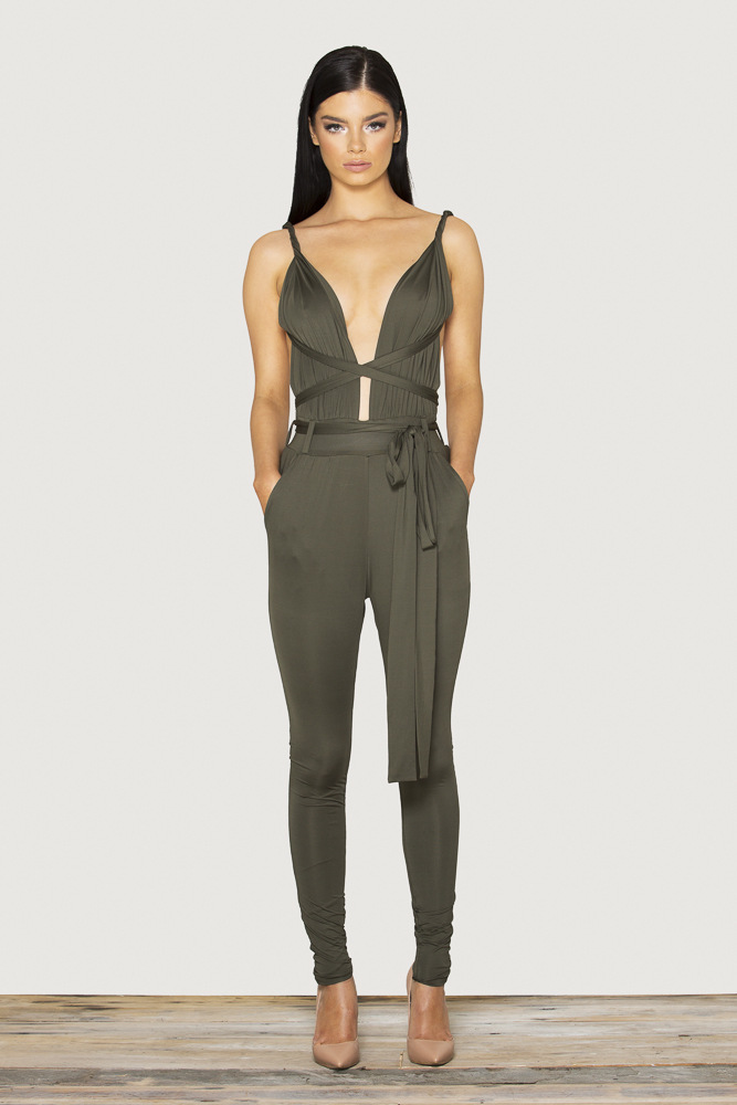Creative Safari Khakis Jumpsuits Trends Forward Khaki Utility Jumpsuit