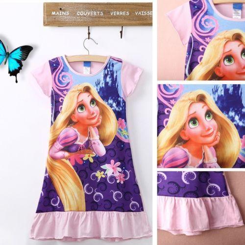 2015 дети девочки мультфильм рапунцель : запутанная история с короткими рукавами хлопка пижамы платье pf
