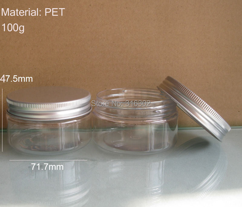 20 x 100g Clear Cream Jar, 100cc PET Jar, Cream Bottle with aluminum lids, different size with the previous jar(China (Mainland))