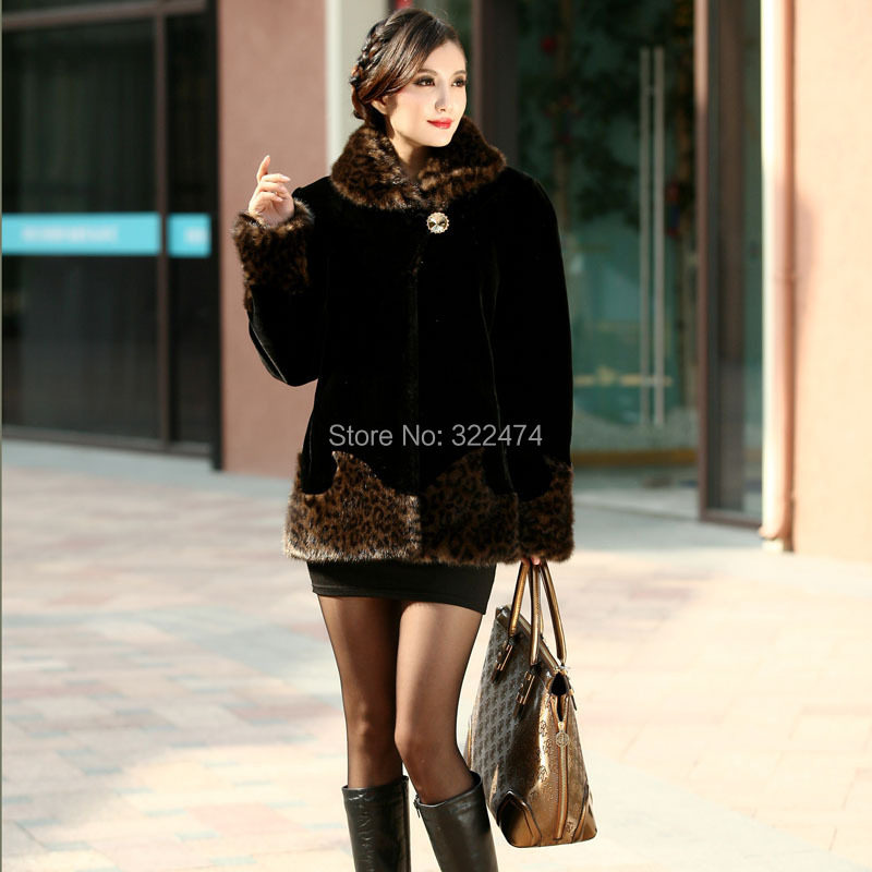 new winter mink cashmere coat women mother dress artificial fur coat cheap mink coats plus size coats 4xl fourrure(China (Mainland))