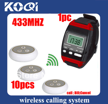 NEW ! Billiard hall waiter call waiter call bell W 10pcs table buzzer and 1 pc watch receiver with Singcall 433.92Mhz