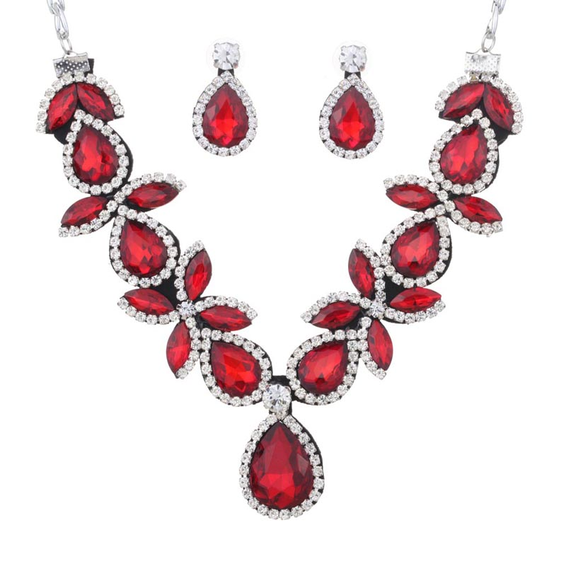 Yazilind 2016 New Women Jewelry Set Silver Plated Red/Blue Stunning Crystal Drop Shaped Chunky Necklace Earring for Party(China (Mainland))