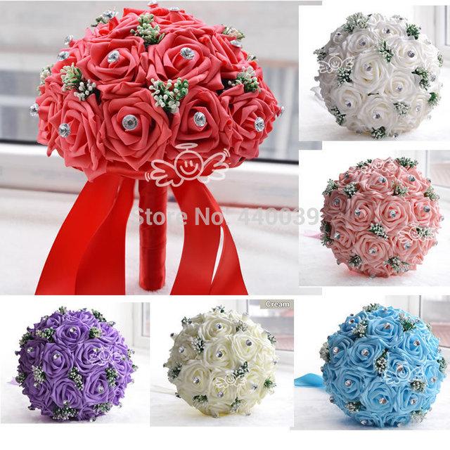 2016 свадебные аксессуары новый ручной свадебные цветы белые невесты свадебные букеты ...
