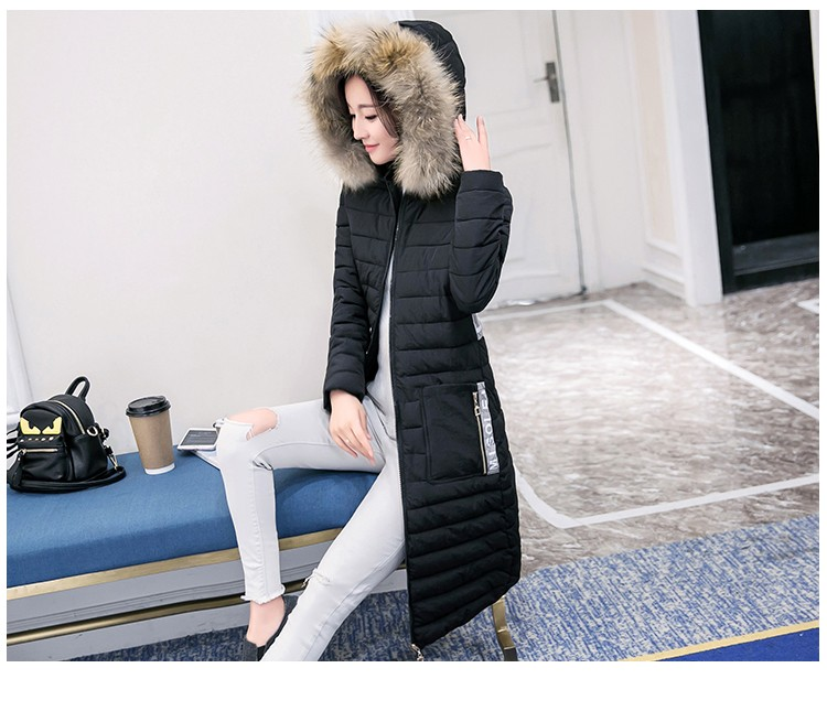 winter women's Parka thick Printed letters hooded jacket female Splice Long section Large size coat Overcoat