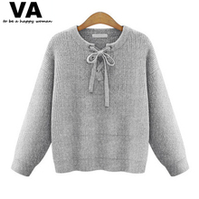VA Women's Sweater New 2016 Spring Fashion Bow Knitted Pullover Sweater Big Plus Size Women Clothing Tops 5XL P00768(China (Mainland))