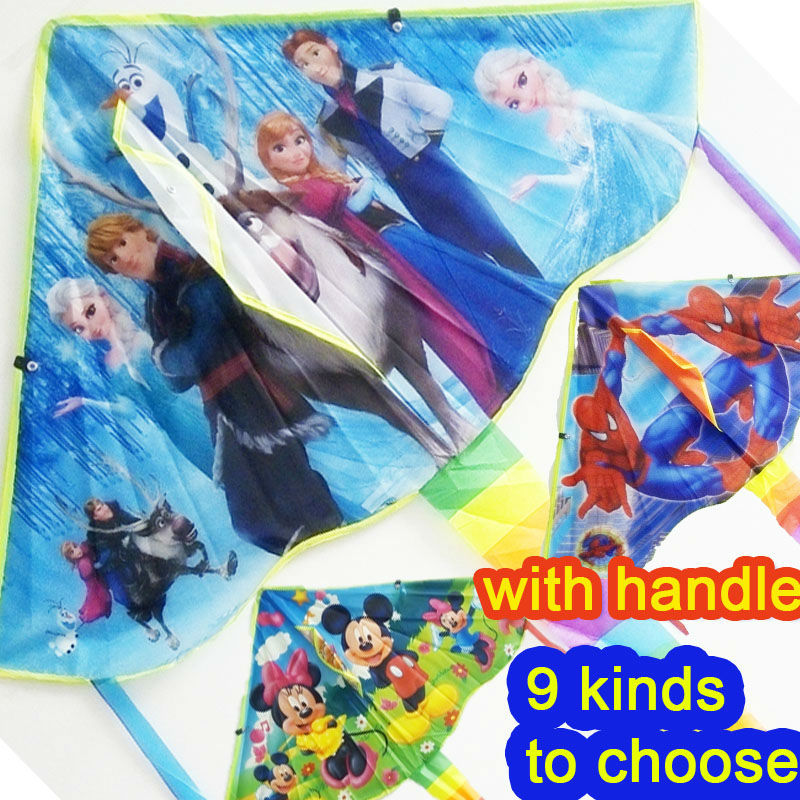 1 Piece Children's Favourite Flying Kite For Kids Spiderman Mickey Elsa Kite With Handle And Line With Gift Factory Outlet(China (Mainland))