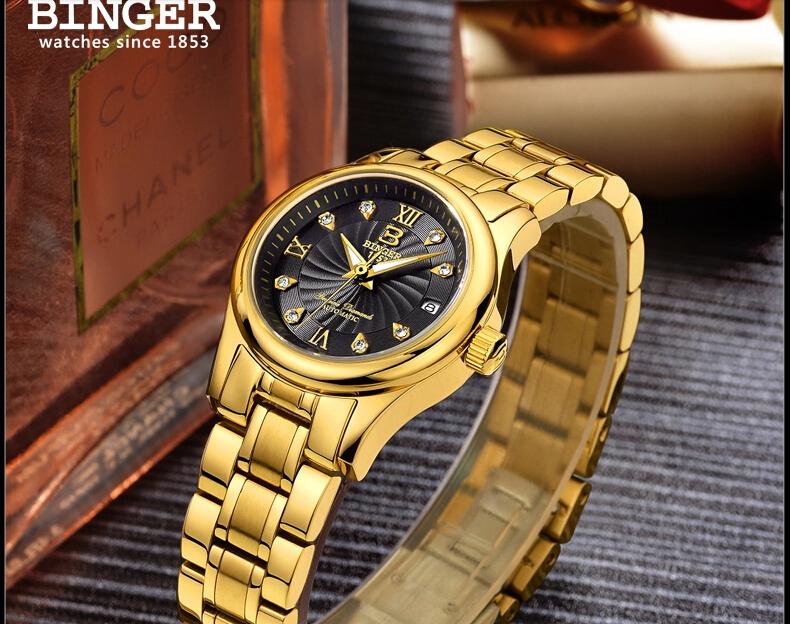 Оригинальный бренд Бингер Часы хорошего качества ультра-тонкий из нержавеющей стали бизнес пары смотреть водонепроницаемый календарь Наручные Часы
