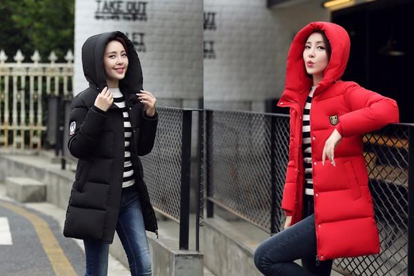 Скидки на 2016 Зимой Толстые Пальто Твердый Зимний Пальто Женщины Длинные Куртка Толщиной Хлопка Зимнее Пальто Женщин Куртки С Капюшоном Женщин Doudoune Femme