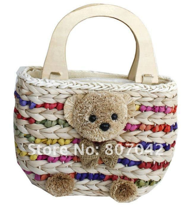 Freeshipping new arrive little bear grass weaving handbag,summer handbag,super cute teddy bear handbag,lovely rattan bag(China (Mainland))
