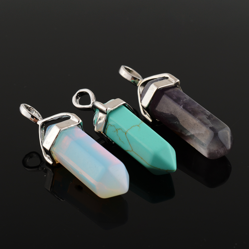 New Lovely Natural Multi Color Crystal Stone Healing Point Choker Chakra Peiki Necklace Pendant DIY(China (Mainland))