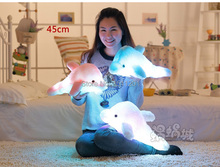 43cmCreative dolphin doll luminous luminous pillow, plush toys, colorful music doll birthday girl(China (Mainland))