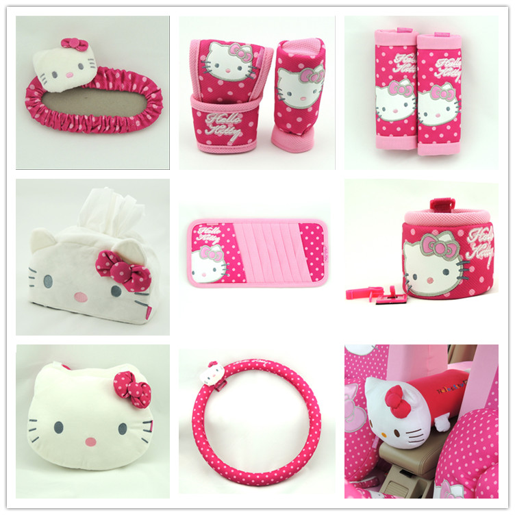 Free shipping Car styling Hello Kitty car accessories Steering Covers Seat Supports Handbrake Grips CD holder car decoration(China (Mainland))
